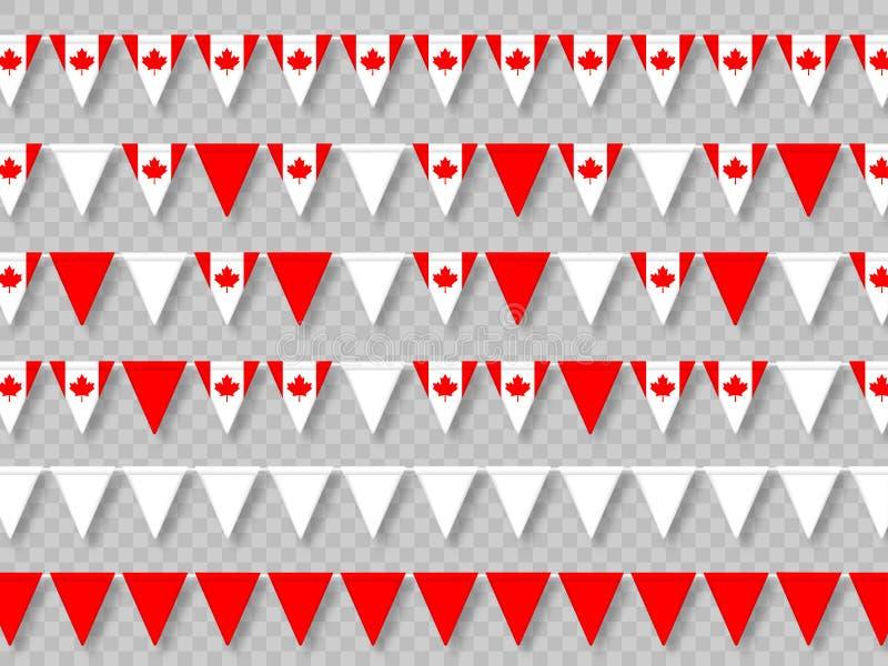 Ställ in av Kanada bunting flaggor i traditionella färger vektor illustrationer