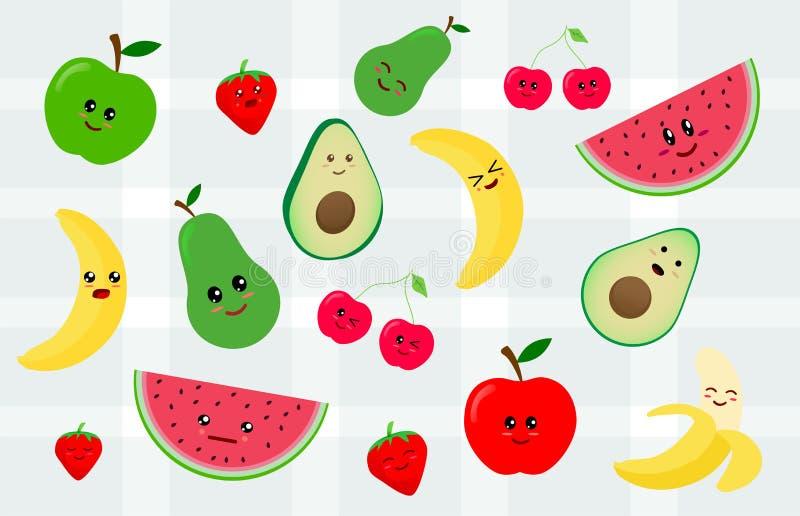 Ställ in av kawaiiklistermärke eller lapp med fruktmat - körsbärsröd frukt, äpplet, päronet, bananen, vattenmelon, avokado Isoler royaltyfri illustrationer
