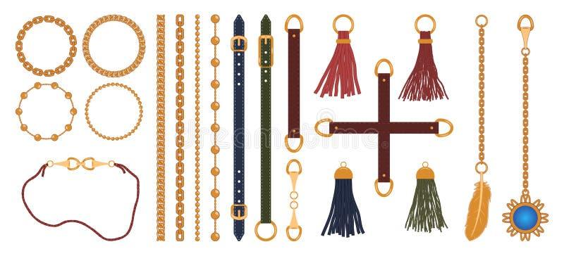 Ställ in av kedjor, remmar och bälten, den flätad tråden och hängen Modesmyckenbeståndsdelar skrivar ut för tygdesign vektor stock illustrationer
