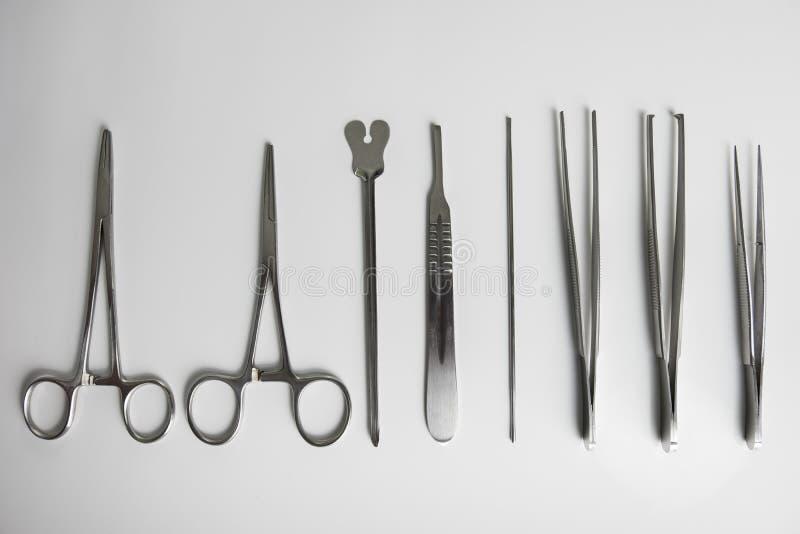 Ställ in av kirurgiskt material arkivfoton