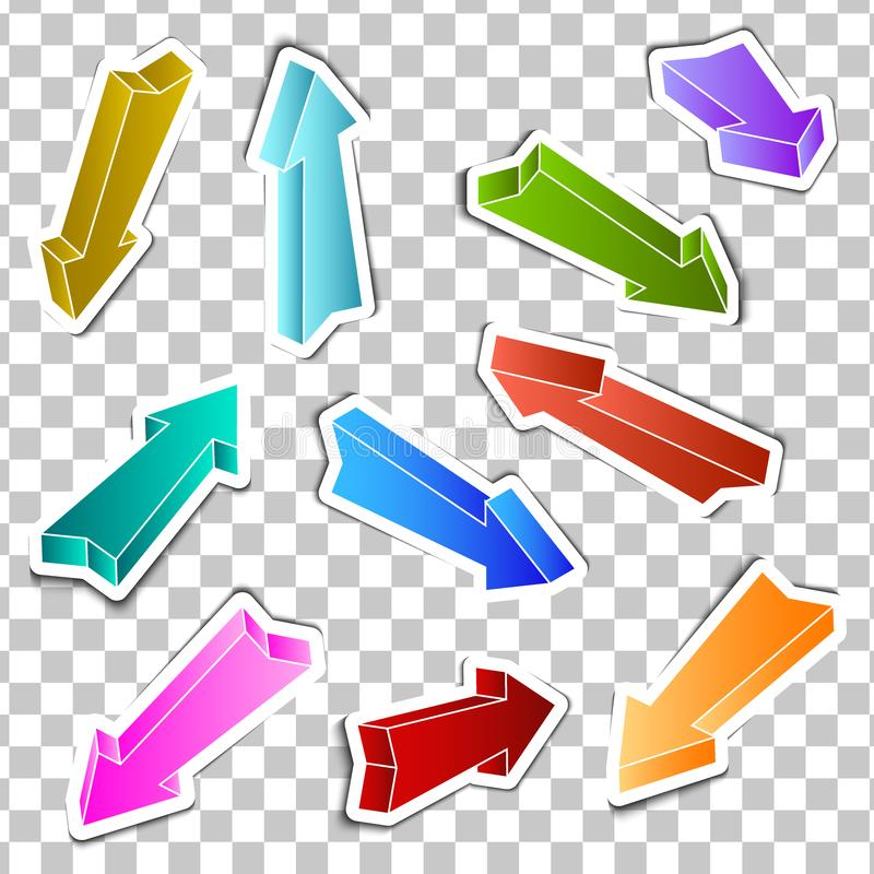 Ställ in av klistermärkear färgade pilar vektor illustrationer