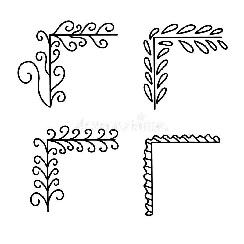 Ställ in av klotterramar och gränser för hand utdragna stock illustrationer