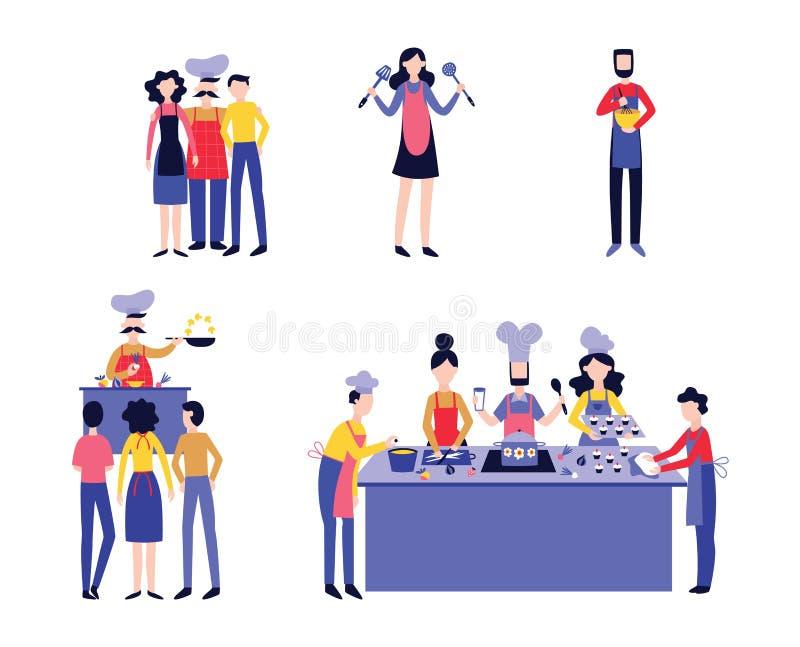 Ställ in av kock med plan tecknad filmstil för manliga och kvinnliga kockar royaltyfri illustrationer