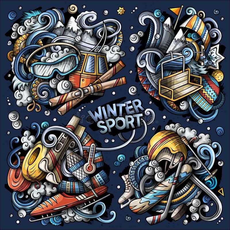 Ställ in av kombinationer för vintersport av objekt och beståndsdelar Alla objekt ?r separata stock illustrationer