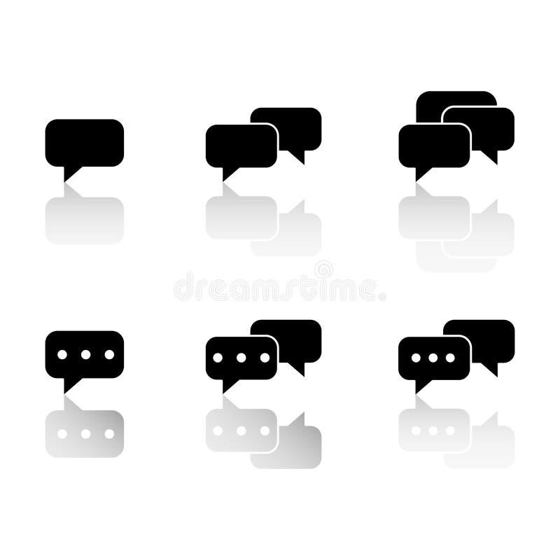 Ställ in av kommunikationssms med reflexionssymboler stock illustrationer