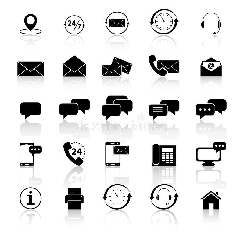Ställ in av kontakt och service med reflexion vektor illustrationer