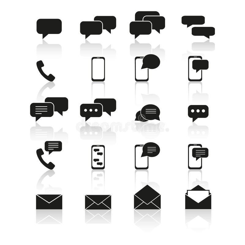 Ställ in av kontakt till oss symboler med reflexion vektor illustrationer