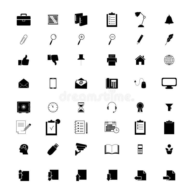 Ställ in av kontor lagarbetet för 48 symboler vektor illustrationer