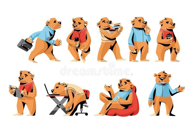 Ställ in av kontorsbrunbjörnen, roligt tecken i olika lägen stock illustrationer
