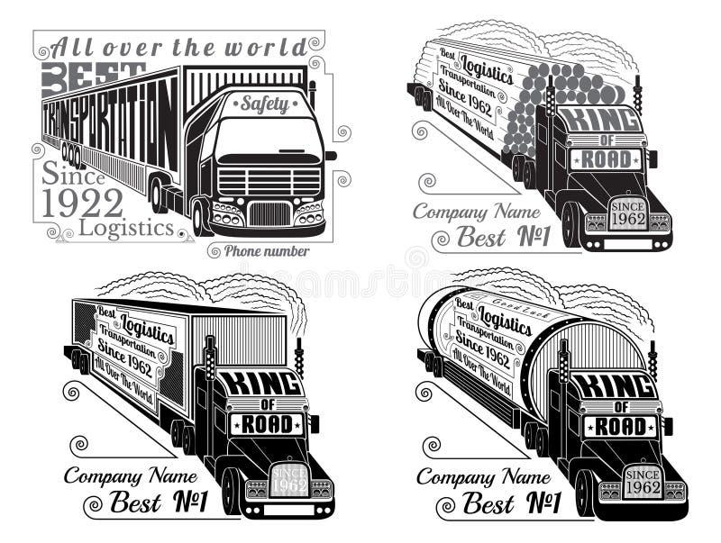 Ställ in av kontur av lastbilar med släpet, journaler, gasbehållaren, kylskåp royaltyfri illustrationer