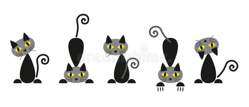 Ställ in av konturer för svarta katter stock illustrationer