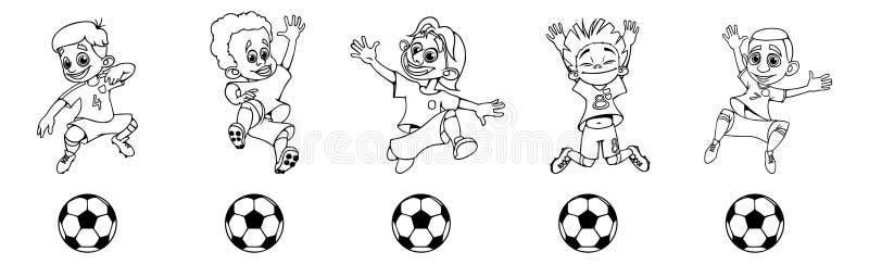 Ställ in av konturfotbollspelare som sparkar bollen royaltyfri illustrationer