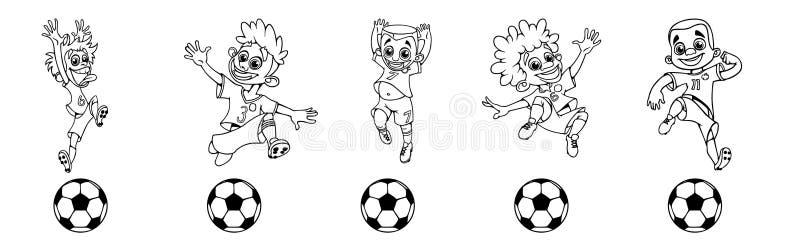 Ställ in av konturfotbollspelare som sparkar bollen stock illustrationer