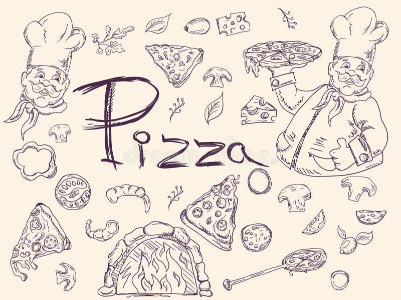 Ställ in av konturillustrationer, på temat av italiensk pizzakokkonst, för garnering och design i stilen av klottret vektor illustrationer