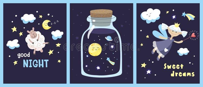 Ställ in av kort med gulliga tecknad filmtecken och inskrifter i himlen för den stjärnklara natten royaltyfria foton