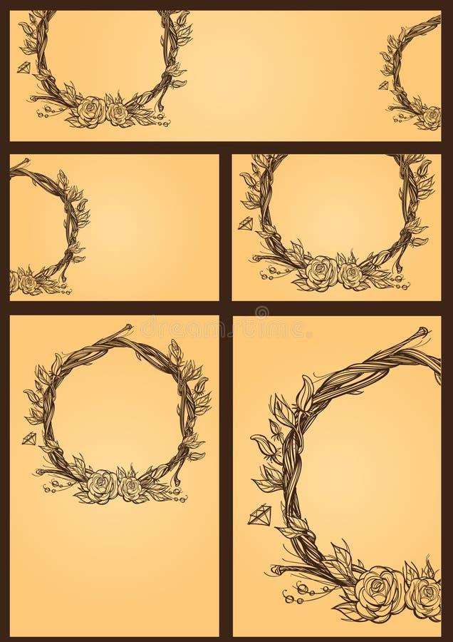 Ställ in av kort, reklamblad och baner med blom- design på en orange bakgrund Eleienty för designbröllopinbjudningar royaltyfria bilder