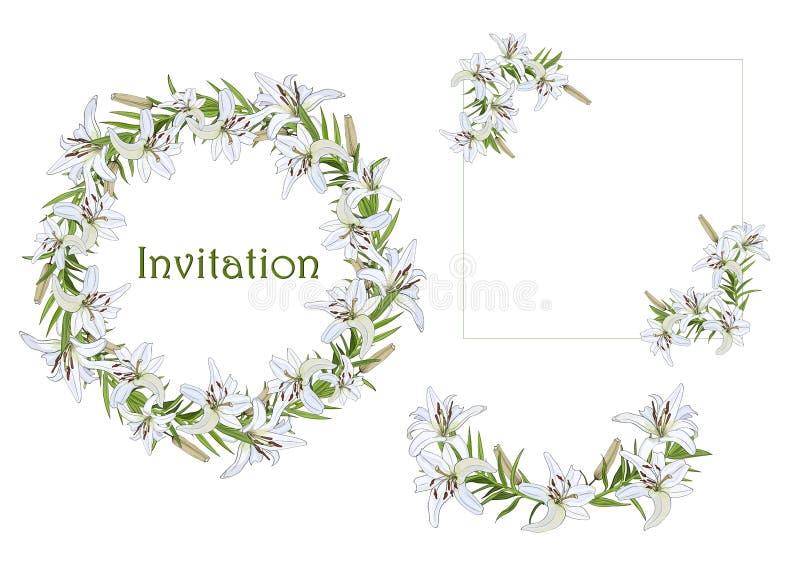 Ställ in av kransen, halvcirklar och hörnbeståndsdelar för hälsningar, inbjudningar med blommor för den vita liljan stock illustrationer