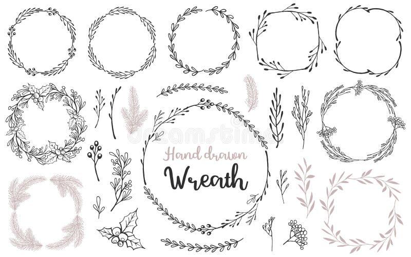 Ställ in av kransen och filialer för hand den utdragna ditt extra dekorativt format för designelement eps8 royaltyfri illustrationer