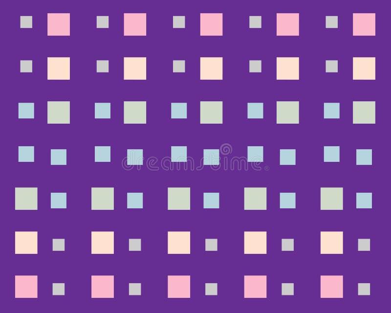 Ställ in av kulöra ljusa fyrkanter på en lila mosaikbakgrund royaltyfri illustrationer