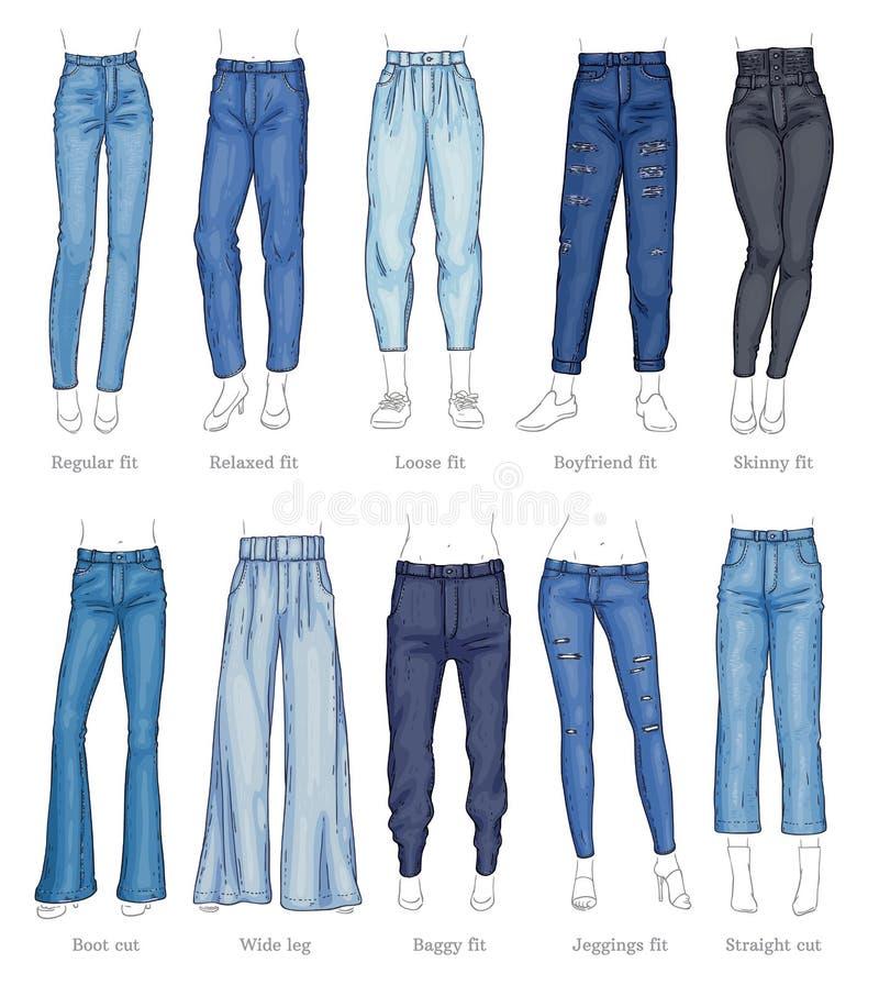 Ställ in av kvinnliga jeansmodeller, och deras namn skissar stil vektor illustrationer