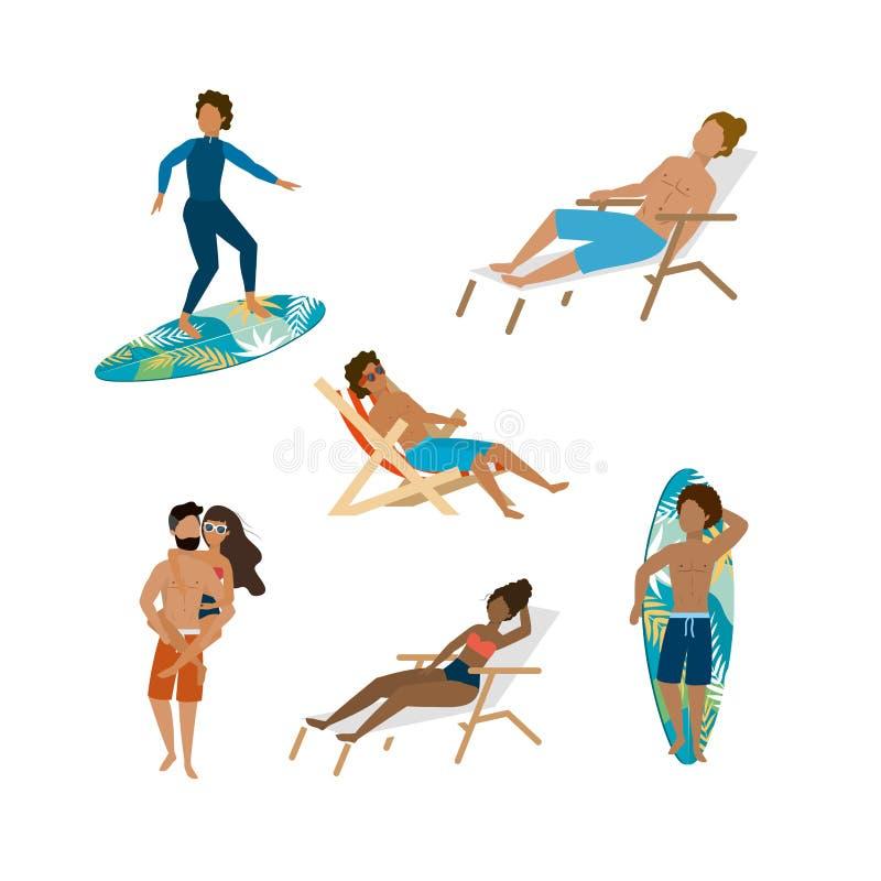 Ställ in av kvinnor och män som bär bada kortslutningar och baddräkten med surfingbrädan och garva stol vektor illustrationer
