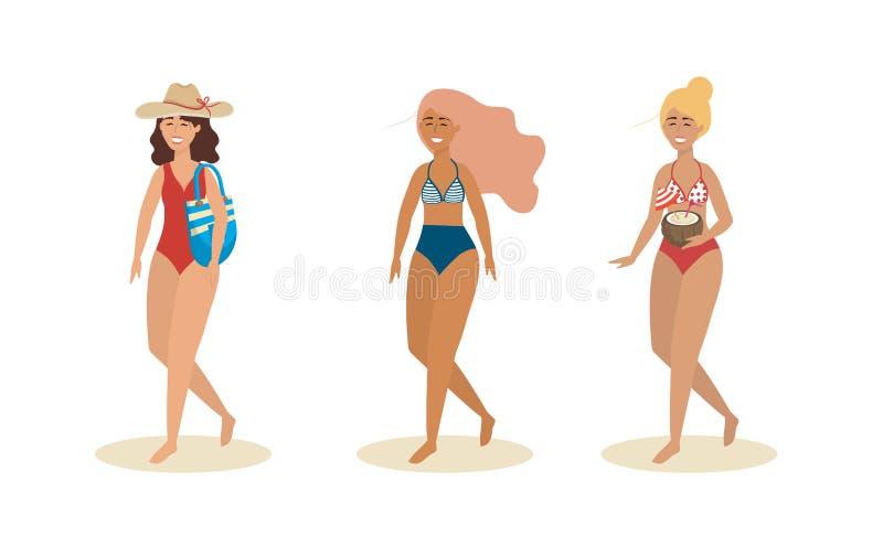 Ställ in av kvinnor som bär baddräkten med hatten och handväskan med kokosnötdrycken stock illustrationer