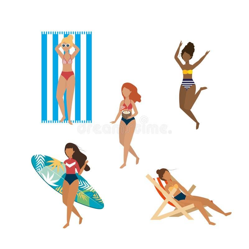 Ställ in av kvinnor som bär baddräkten med surfingbrädan och garvar stol royaltyfri illustrationer