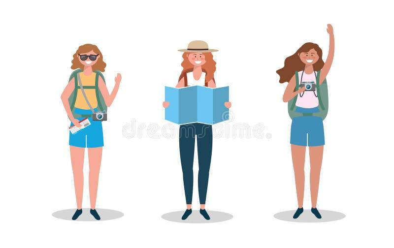 Ställ in av kvinnor som bär solglasögon och hatten med den globala översikten stock illustrationer