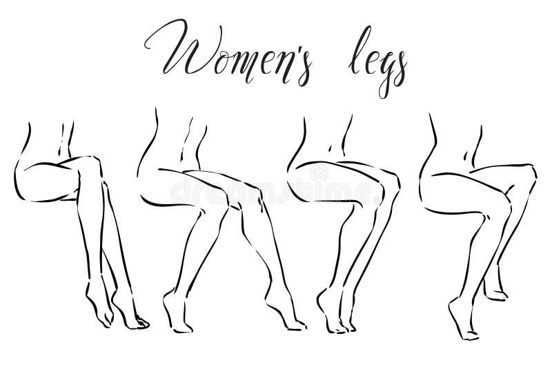 Ställ in av kvinnors ben Symboler för brunnsorttreatmens, hårborttagning, massagen etc. stock illustrationer