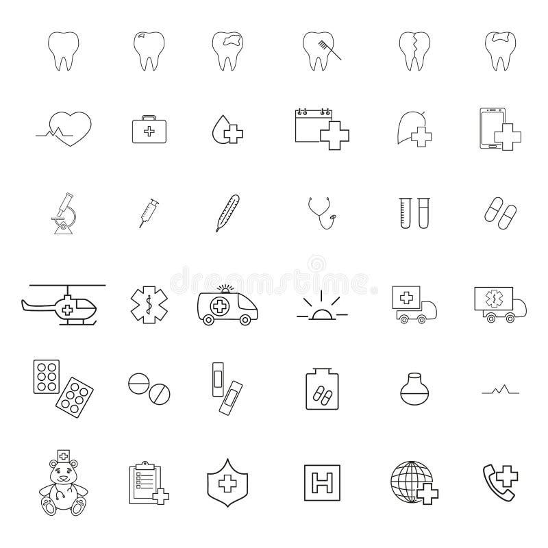 Ställ in av läkarundersökning de första hjälpsymbolerna royaltyfri illustrationer