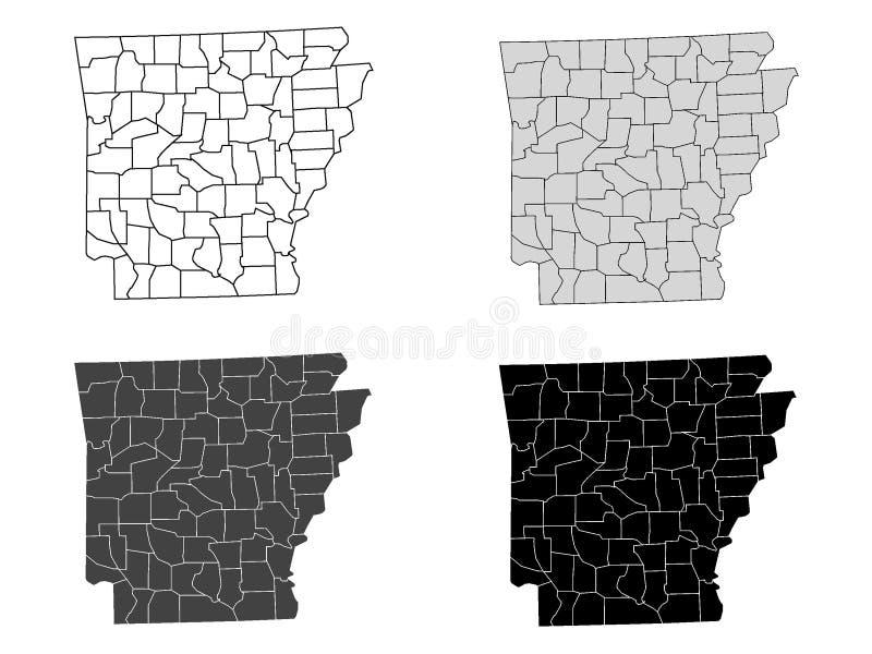Ställ in av länöversikter av USA-staten av Arkansas vektor illustrationer