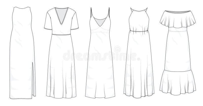 Ställ in av långa maxi klänningar för sommar royaltyfri illustrationer