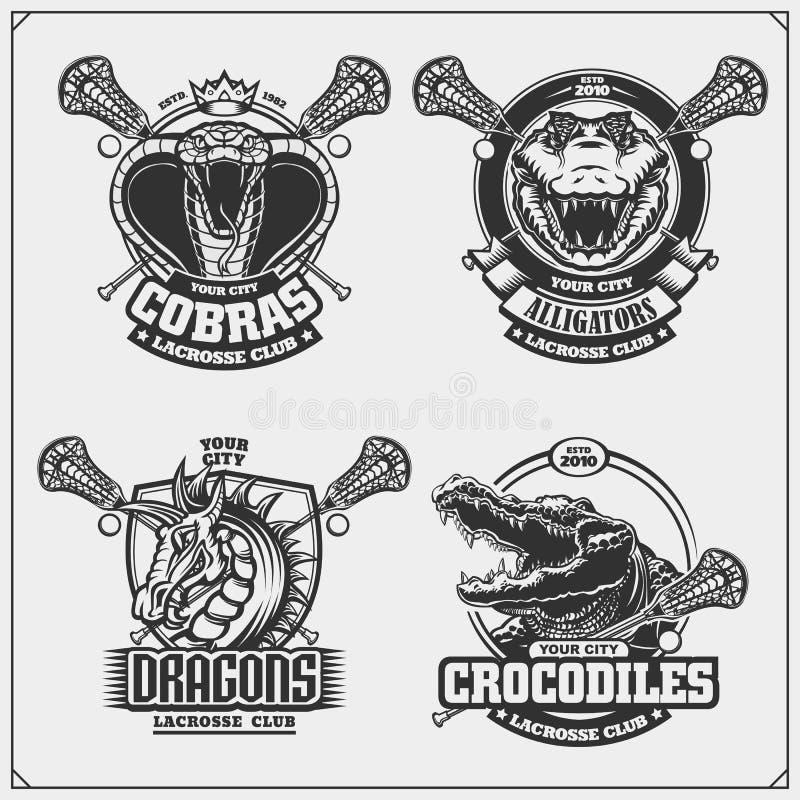 Ställ in av lacrosseemblem, emblem, logoer och etiketter med kobran, krokodilen och draken royaltyfri illustrationer