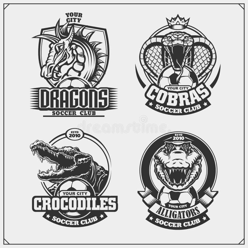 Ställ in av lacrosseemblem, emblem, logoer och etiketter med kobran, krokodilen och draken vektor illustrationer