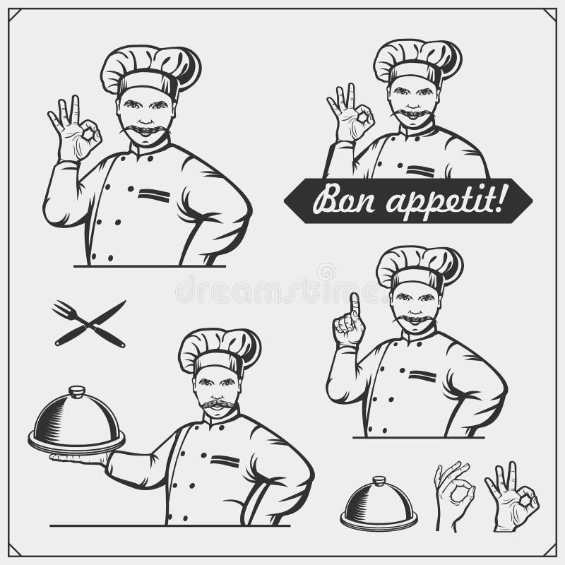Ställ in av laga mat grupper med kockkockemblem, etiketter och designbeståndsdelar stock illustrationer