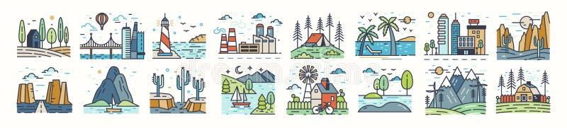 Ställ in av landskapsymboler eller symboler Samling av härliga naturliga landskap - strand, skogläger, bygd, öken stock illustrationer