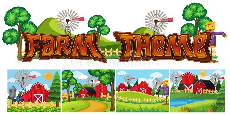 Ställ in av lantgårdtema stock illustrationer