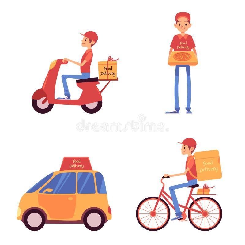 Ställ in av leveransmän som står och rider på medeltecknad filmstil stock illustrationer