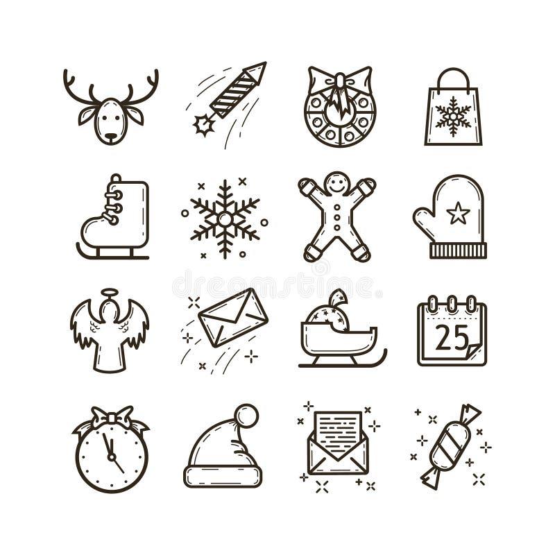 Ställ in av linjen konstvektorsymboler på temat av julferier vektor illustrationer