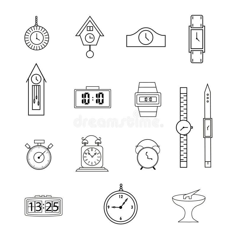 Ställ in av linjen symboler, plana symboler samlingen, klockan, klocka, på vit bakgrund stock illustrationer