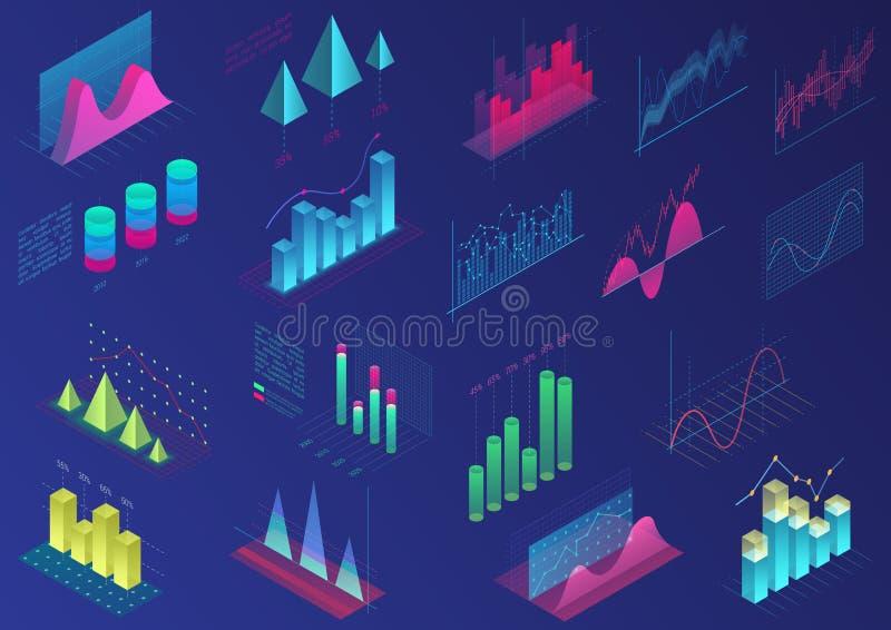 Ställ in av livliga färgrika infographic beståndsdelar för uidesign, presentationsdiagram, datastatistik isometriskt ljust 3d stock illustrationer