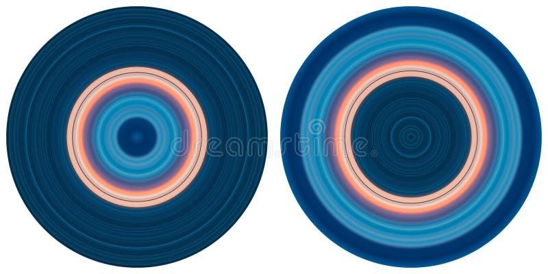 St?ll in av 2 ljusa abstrakta f?rgrika cirklar som isoleras p? vit bakgrund Runda linjer, radiell randig textur i rosa och bl? t royaltyfri illustrationer