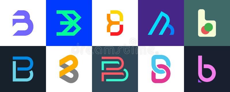 Ställ in av logo för bokstav B arkivfoto