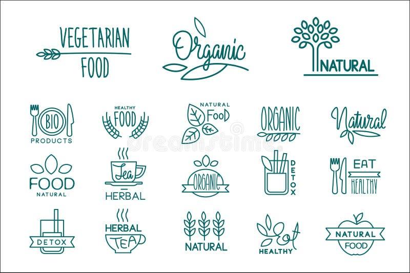 Ställ in av logoer för organisk mat och drink sund näringvegetarian Emblem för kafé, restaurang och naturprodukter royaltyfri illustrationer