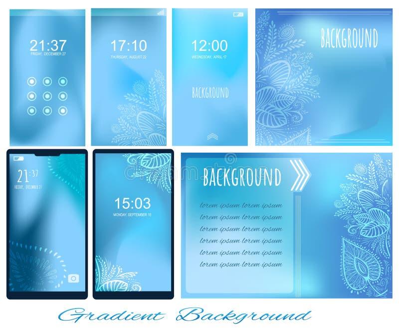 Ställ in av lutningljus - blåa bakgrunder för skärmen, tapet av stock illustrationer