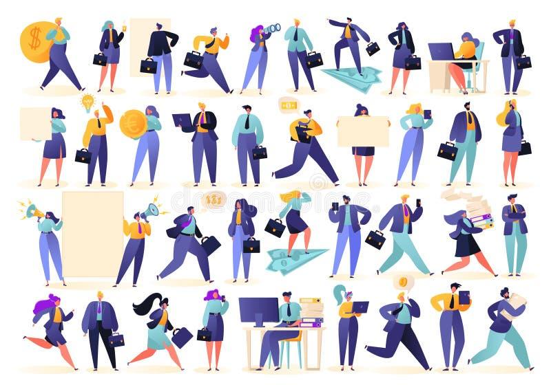 Ställ in av lyckat affärsfolk i olika lägen, isolerat på vit bakgrund royaltyfri illustrationer