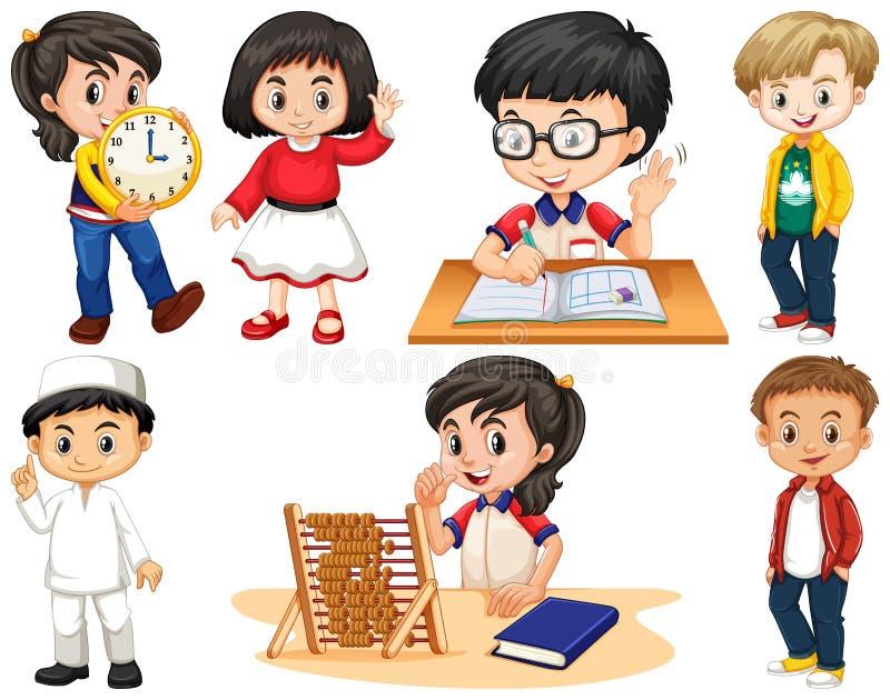 Ställ in av lyckliga barn som gör olik saker vektor illustrationer