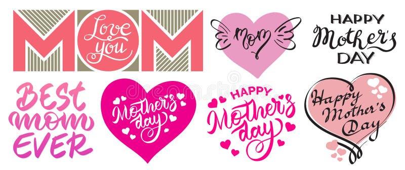 Ställ in av lyckliga dagtryck för moder s - bokstäver, hand-handstil, typografi, kalligrafi samling av vektordiagram vektor illustrationer