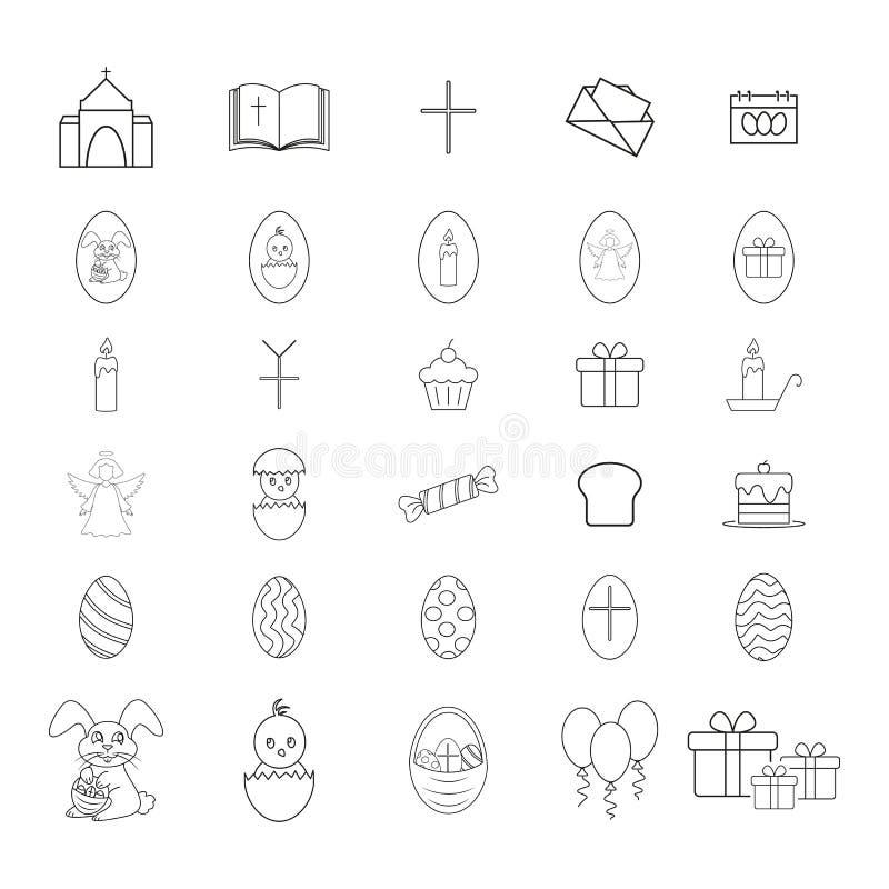 Ställ in av lyckliga easter symboler berömmen stock illustrationer