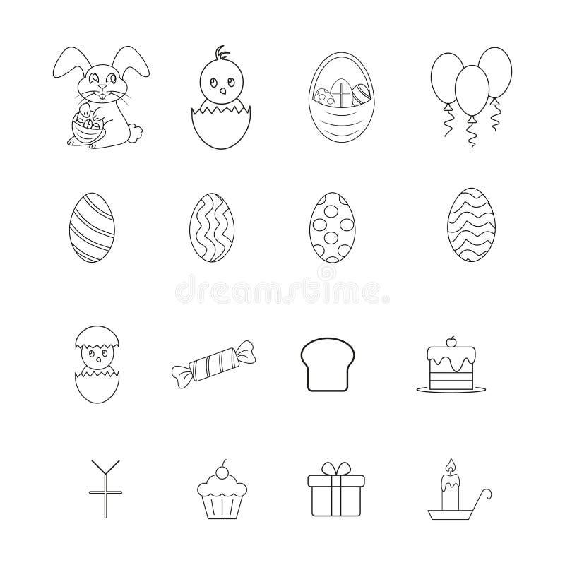 Ställ in av lyckliga easter symboler berömmen vektor illustrationer